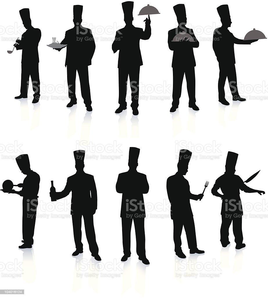 Chef Set Silhouettes vector art illustration