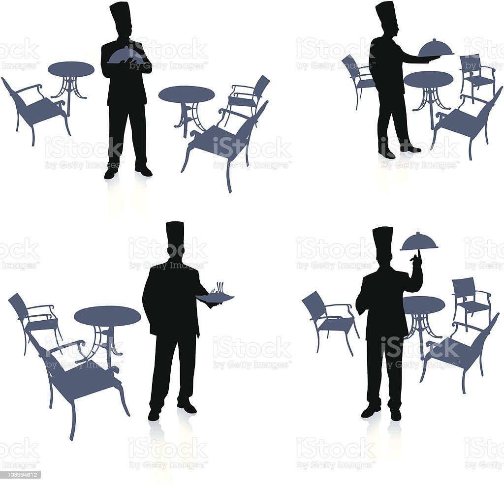 Chef set with tables and chairs royalty-free stock vector art