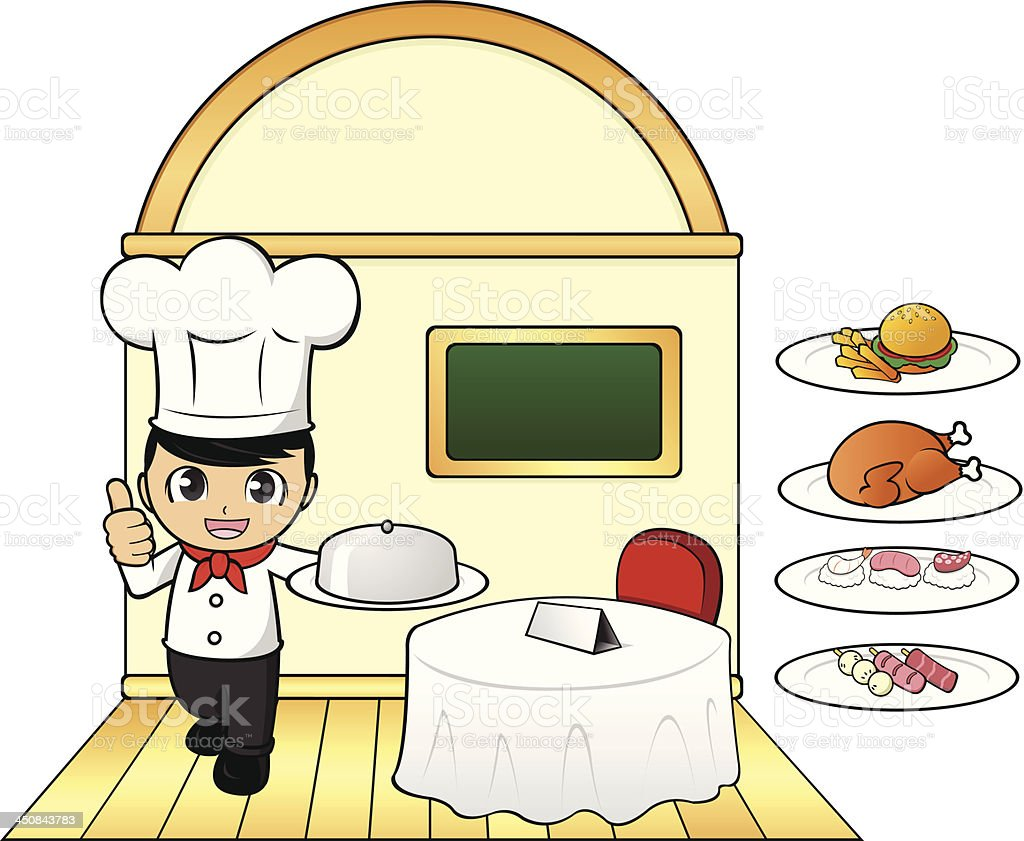 Chef Showing Thumbs Up in Restaurant royalty-free stock vector art
