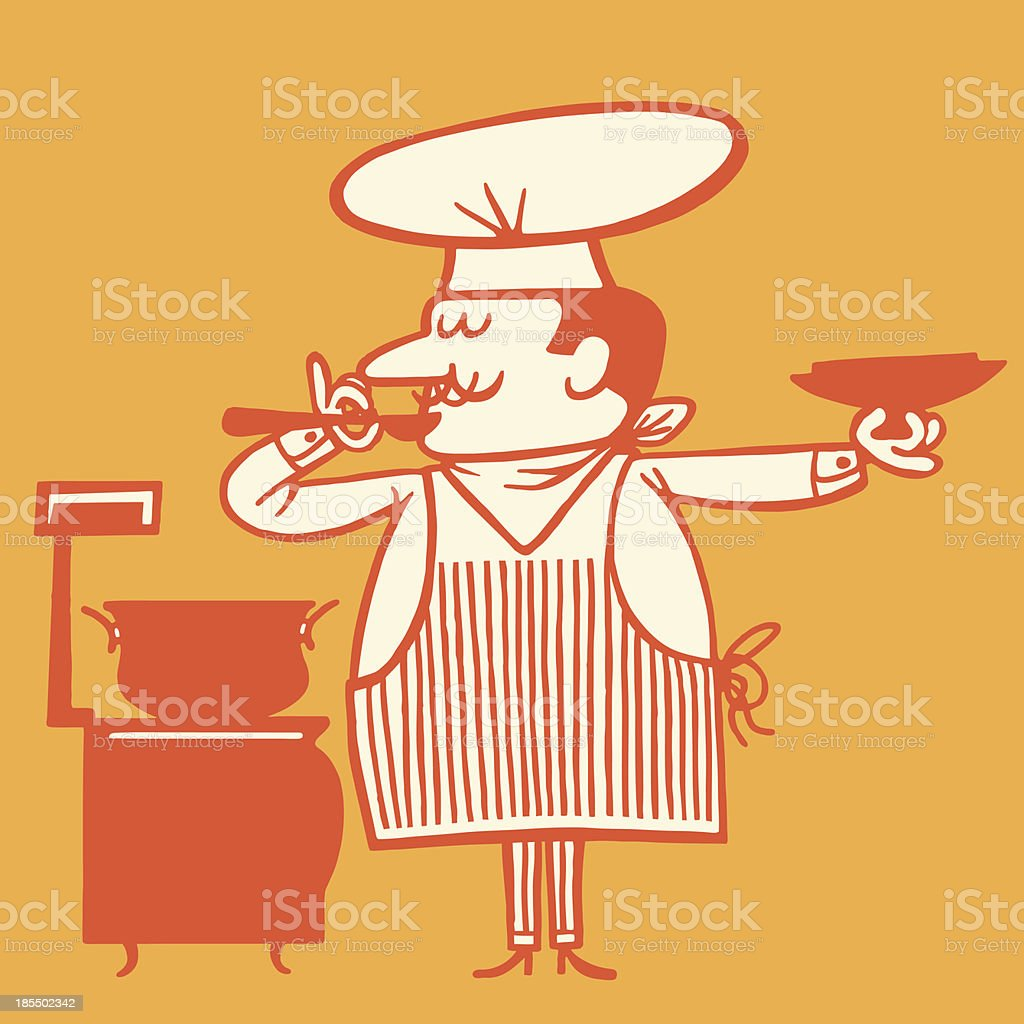 Chef Tasting Soup royalty-free stock vector art