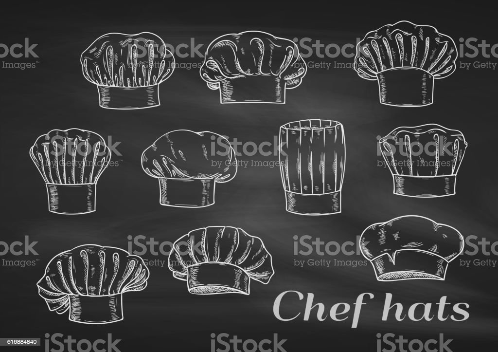 Chef toques, caps and hats chalk icons vector art illustration