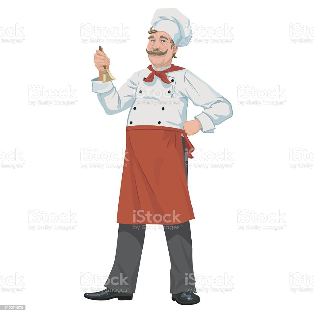 Chef with a bell royalty-free stock vector art