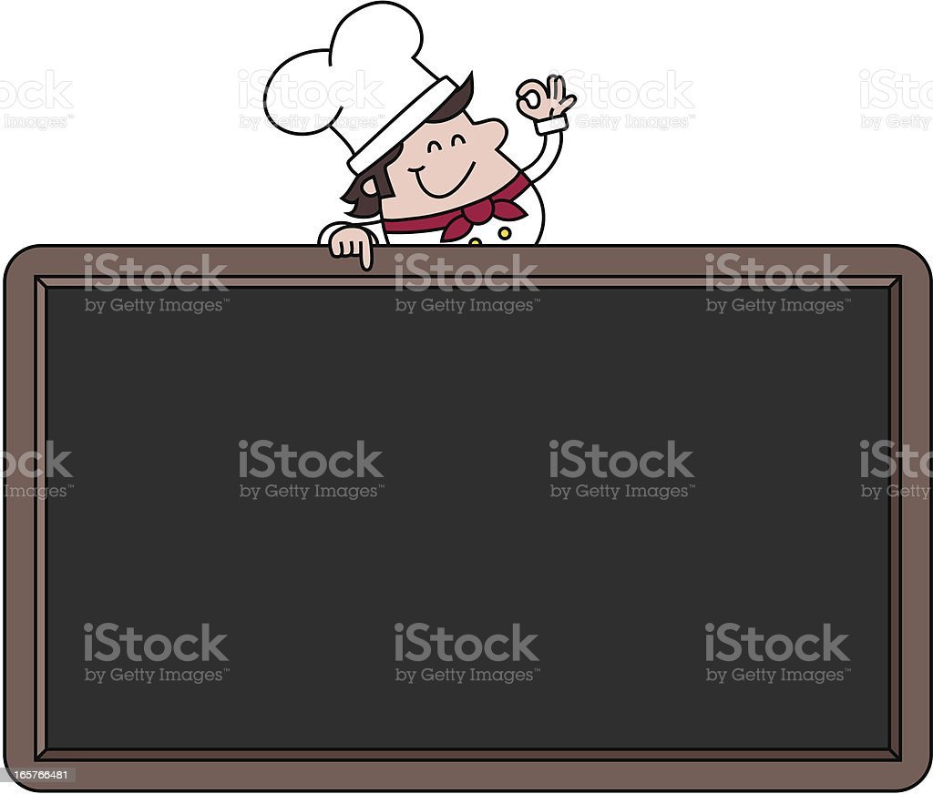 Chef with blank menu board royalty-free stock vector art