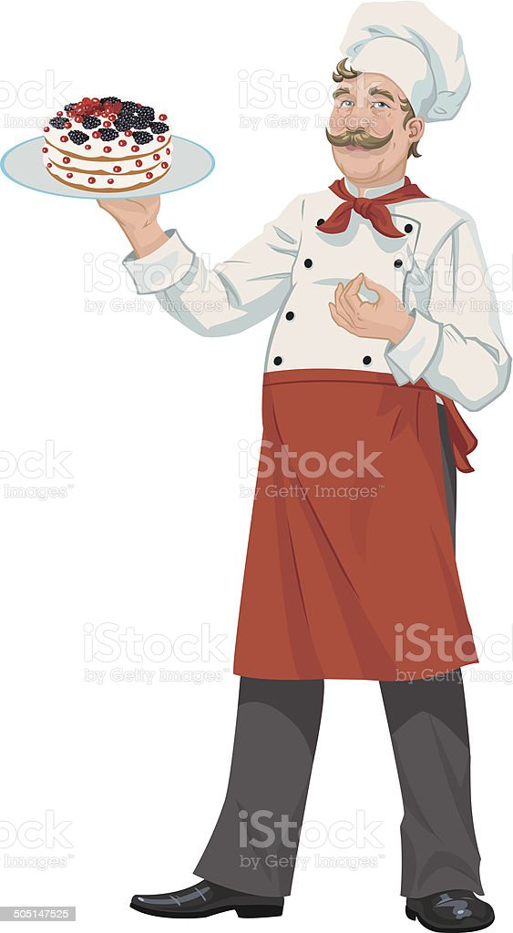 chef with cake royalty-free stock vector art