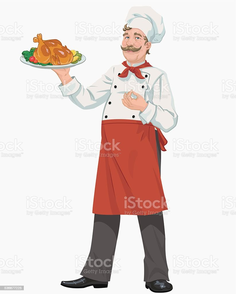 chef with chicken royalty-free stock vector art