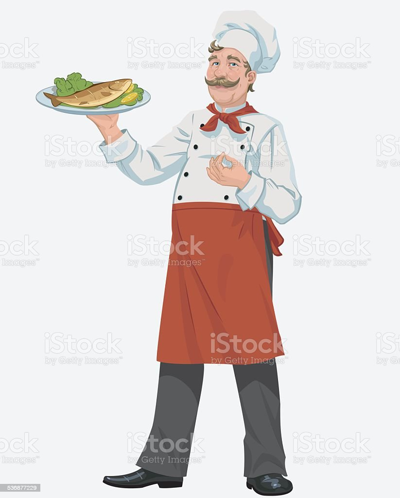 chef with cooked fish royalty-free stock vector art