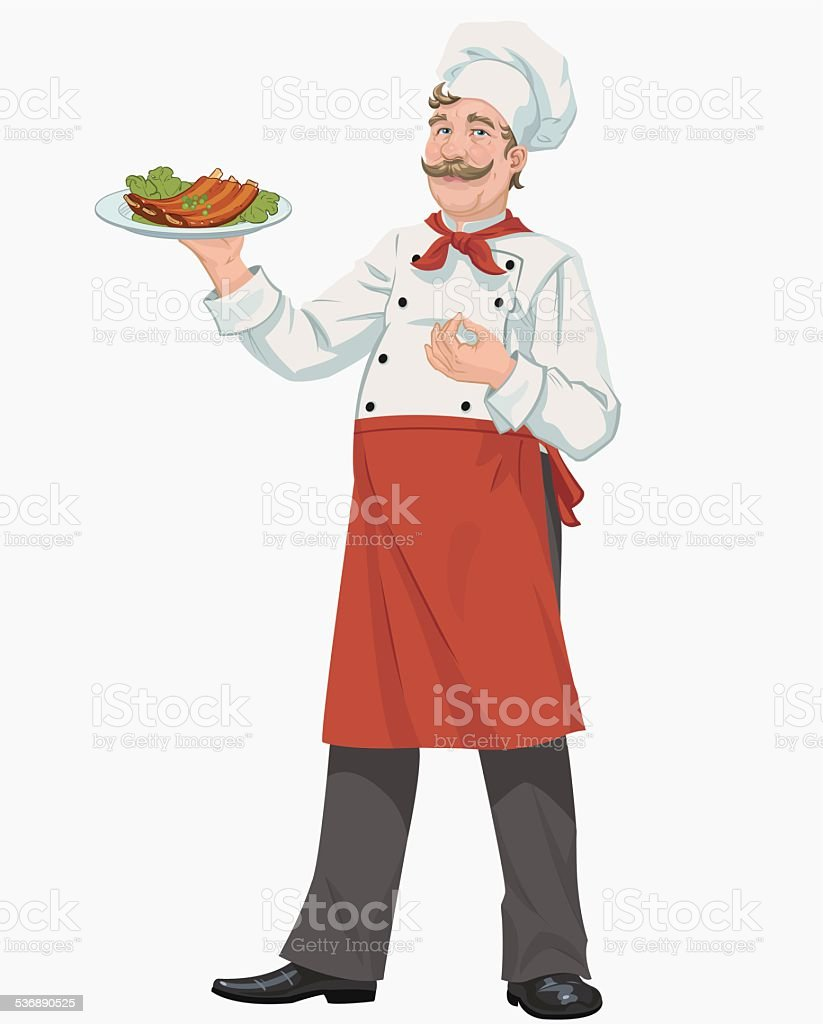 chef with cooked grill ribs royalty-free stock vector art