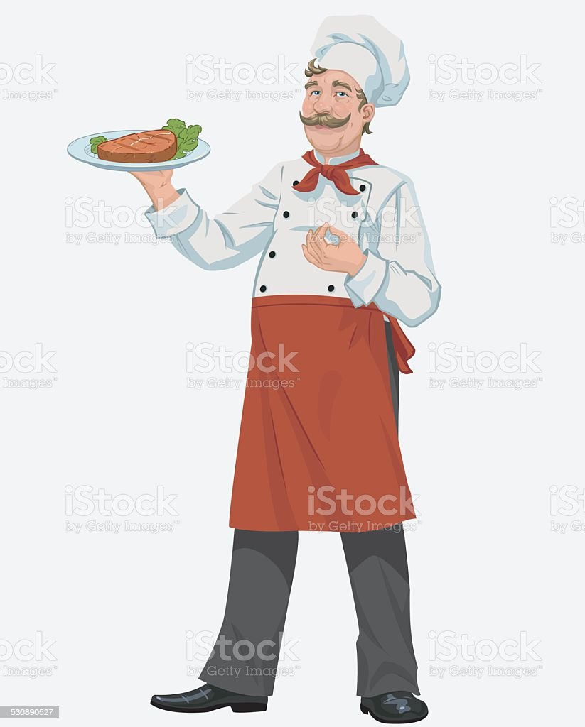 chef with cooked grill steak vector art illustration