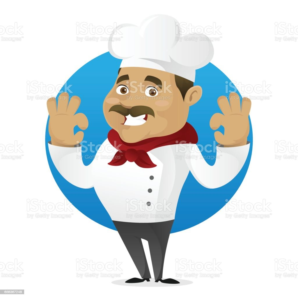 Chef with delicious gesture smiling vector art illustration