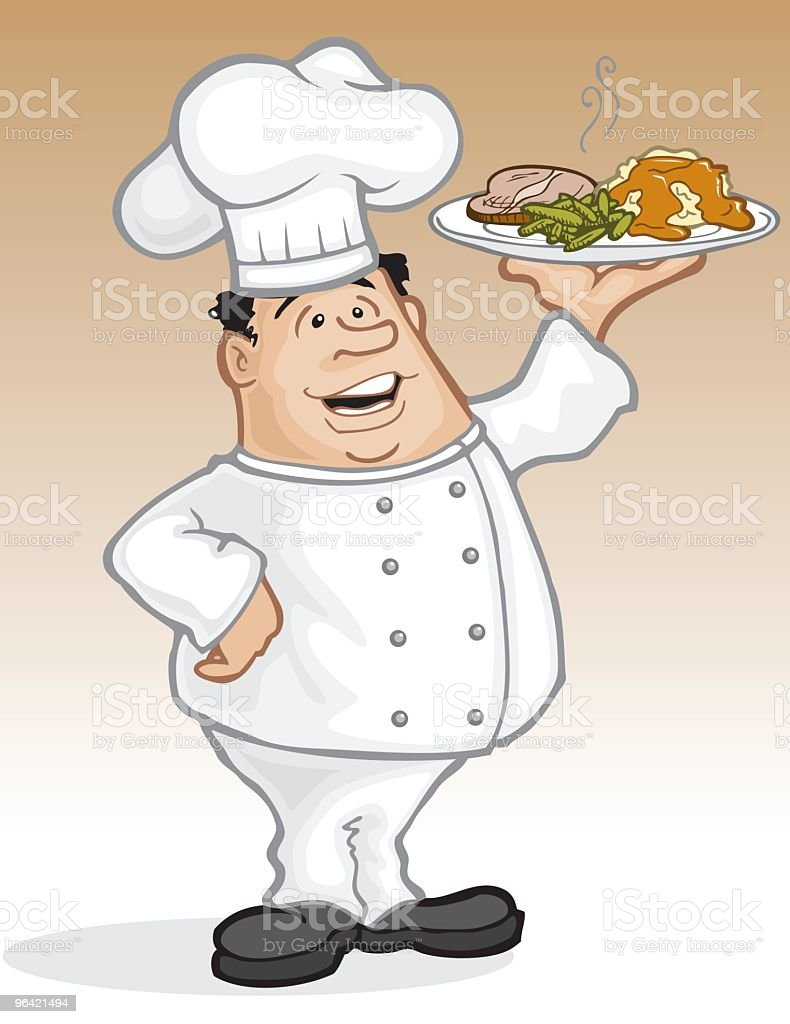 Chef with Dinner vector art illustration