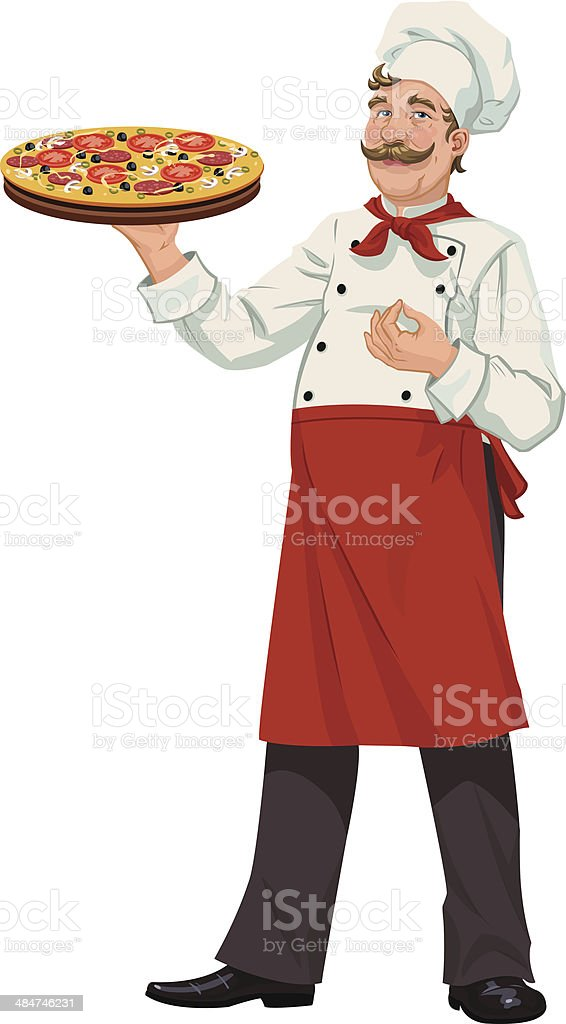 Chef with Fresh Pizza - Illustration royalty-free stock vector art