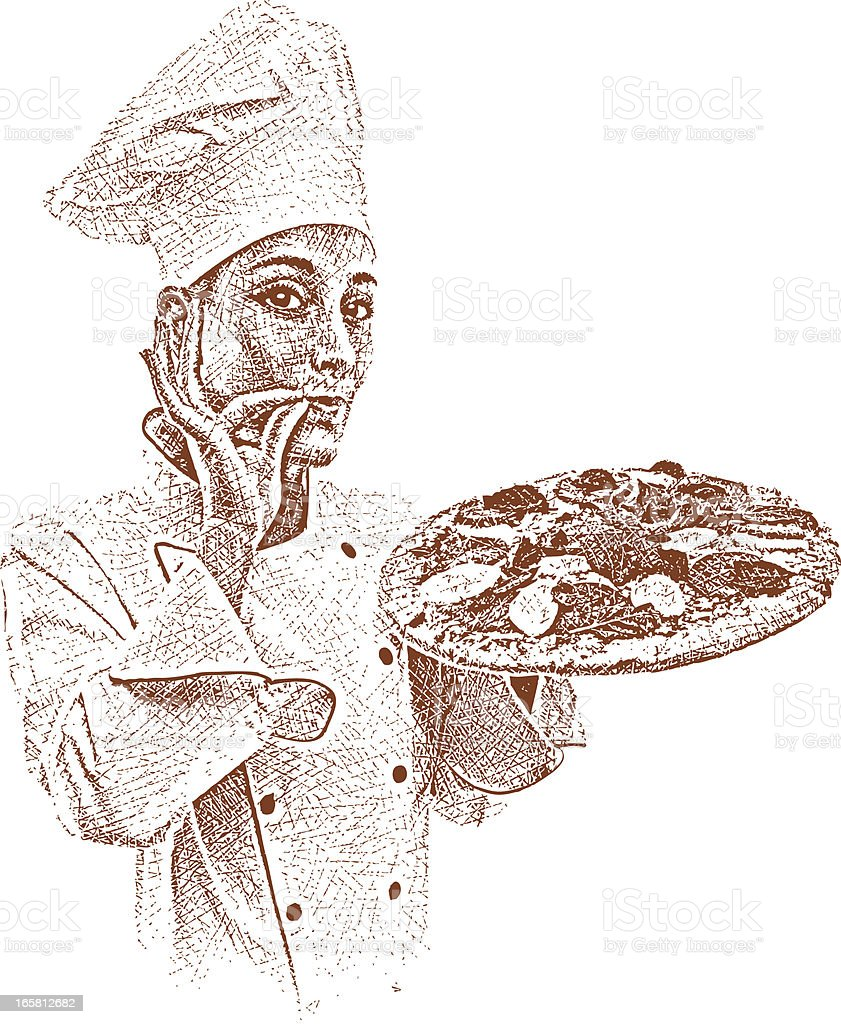 Chef with Fresh Pizza royalty-free stock vector art