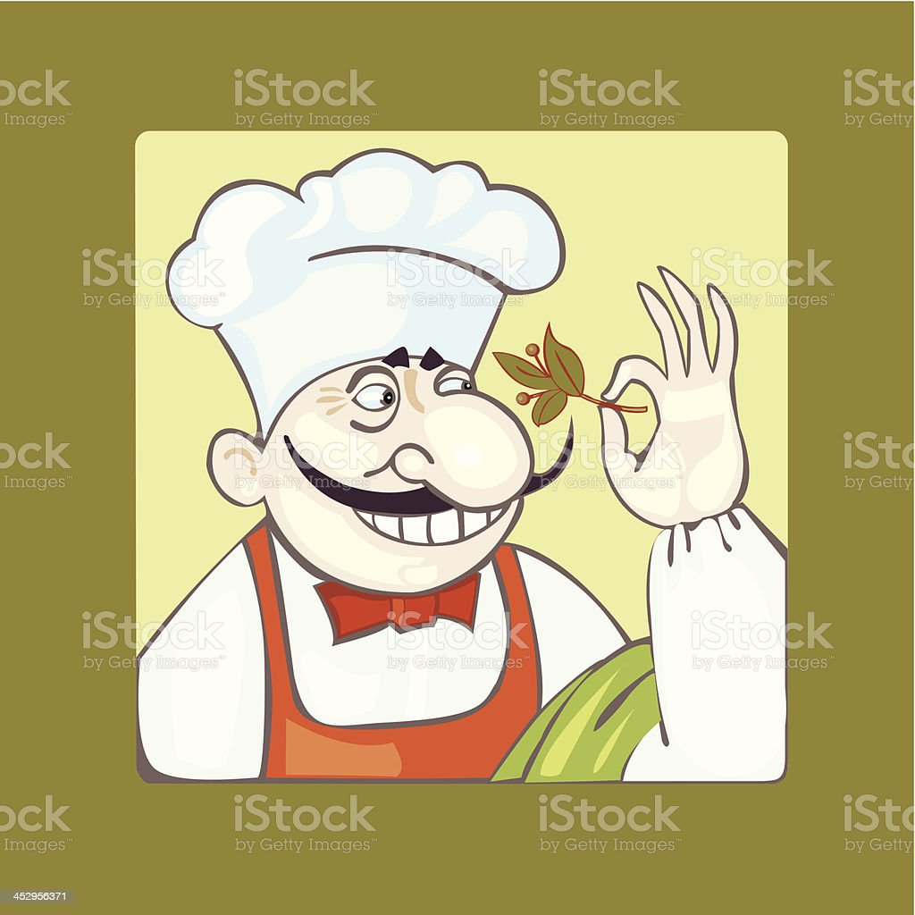 chef with leaf royalty-free stock vector art