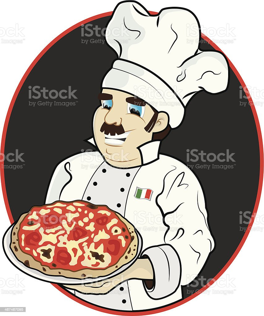 Chef with pizza royalty-free stock vector art