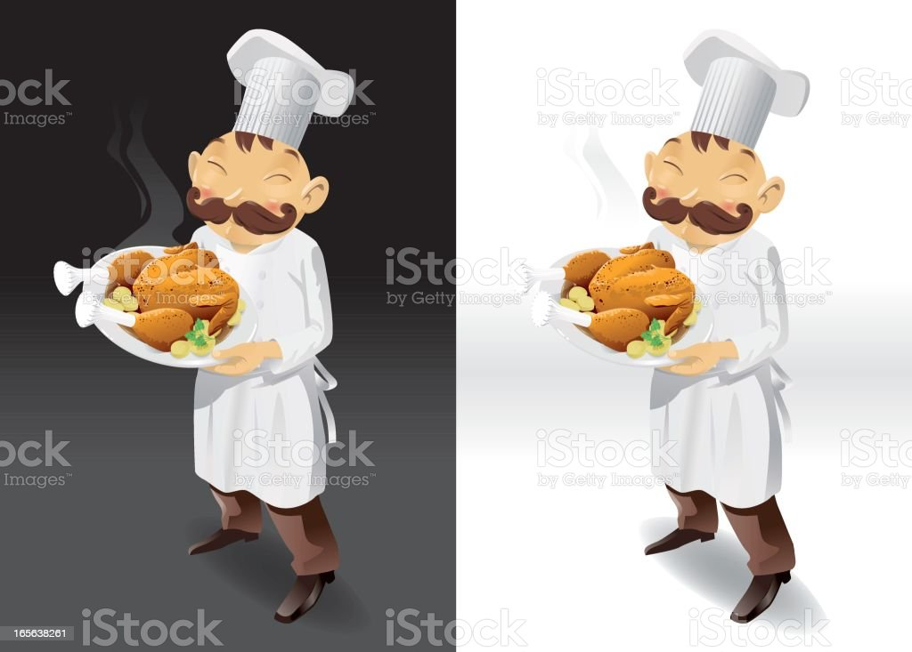 Chef with roasted chicken full picture vector art illustration