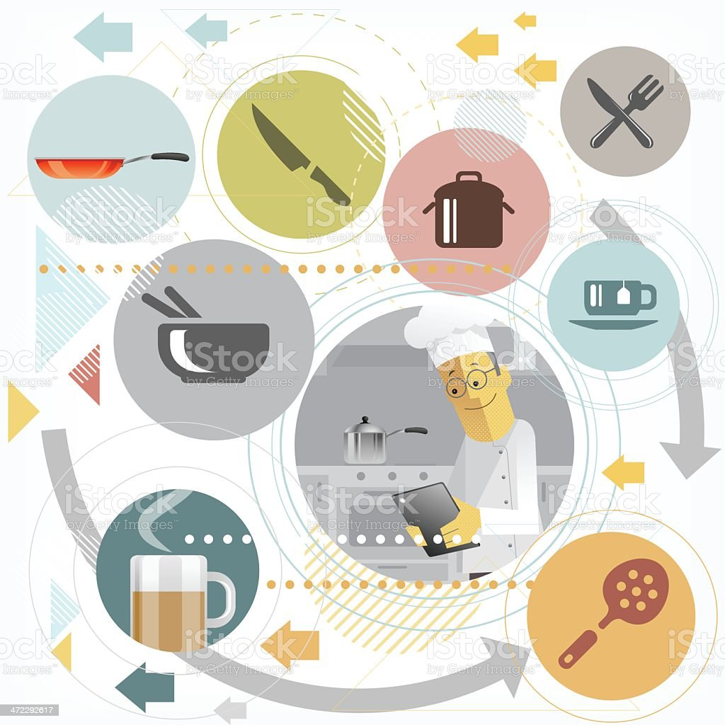 Chef with smart tablet vector art illustration