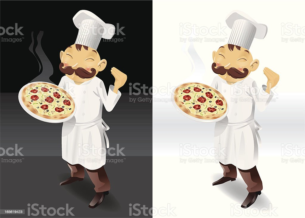 Chef with smoky pizza full picture royalty-free stock vector art