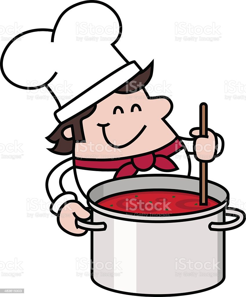 chef with soup pot vector art illustration