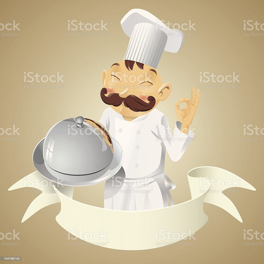 Chef with tray and lid - banner royalty-free stock vector art