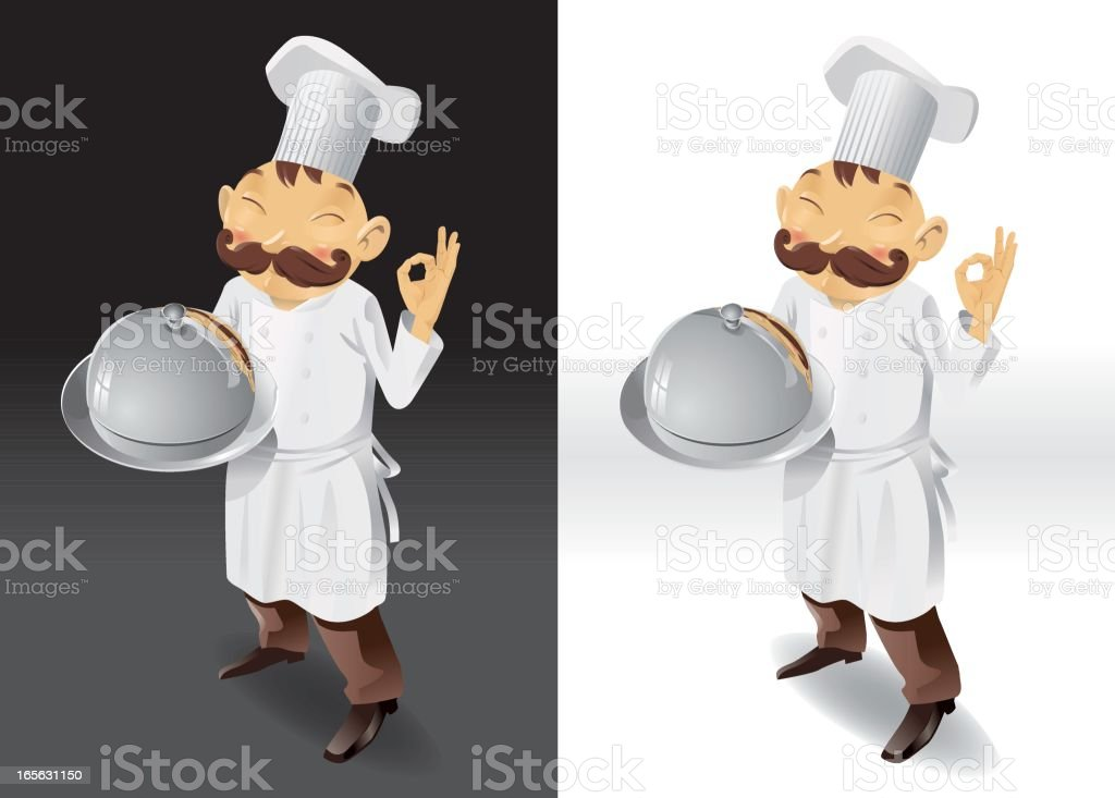 Chef with tray and lid full picture royalty-free stock vector art