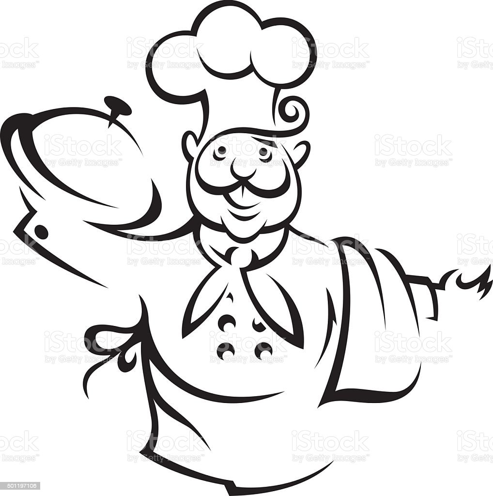 chef with tray vector art illustration