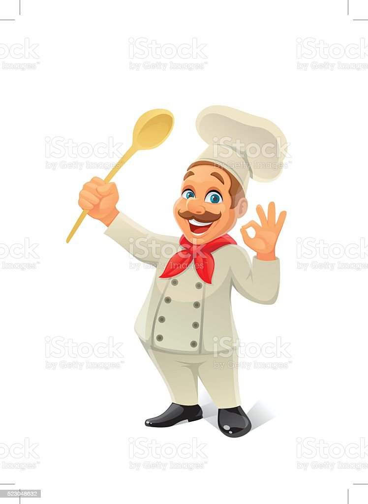 chef with wooden spoon vector art illustration