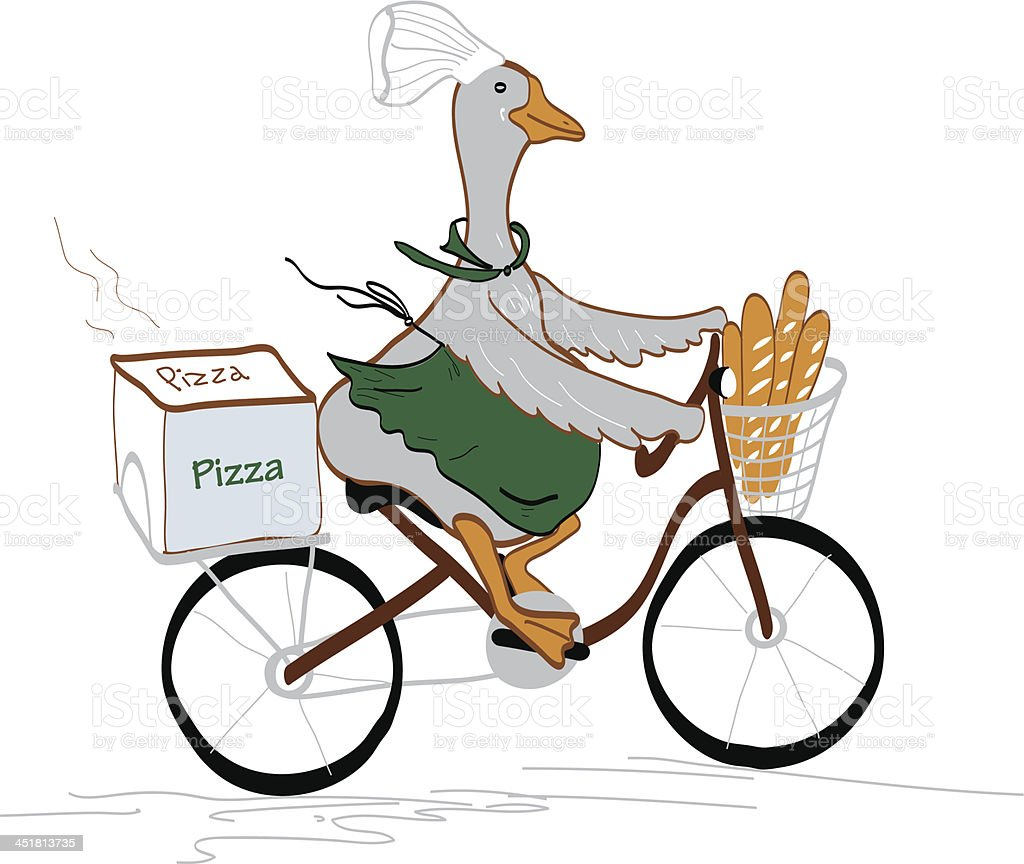 Chef-goose on a bicycle royalty-free stock vector art