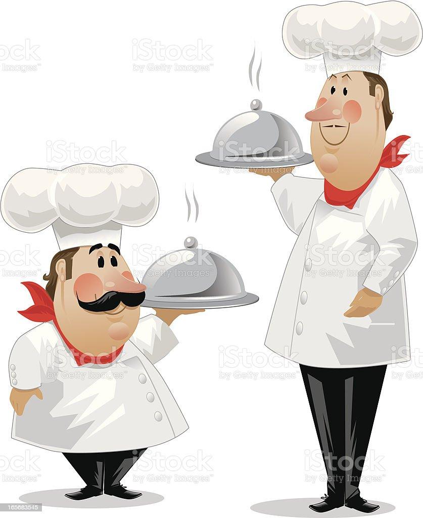 Chefs Gaston and  Jean-Luc vector art illustration