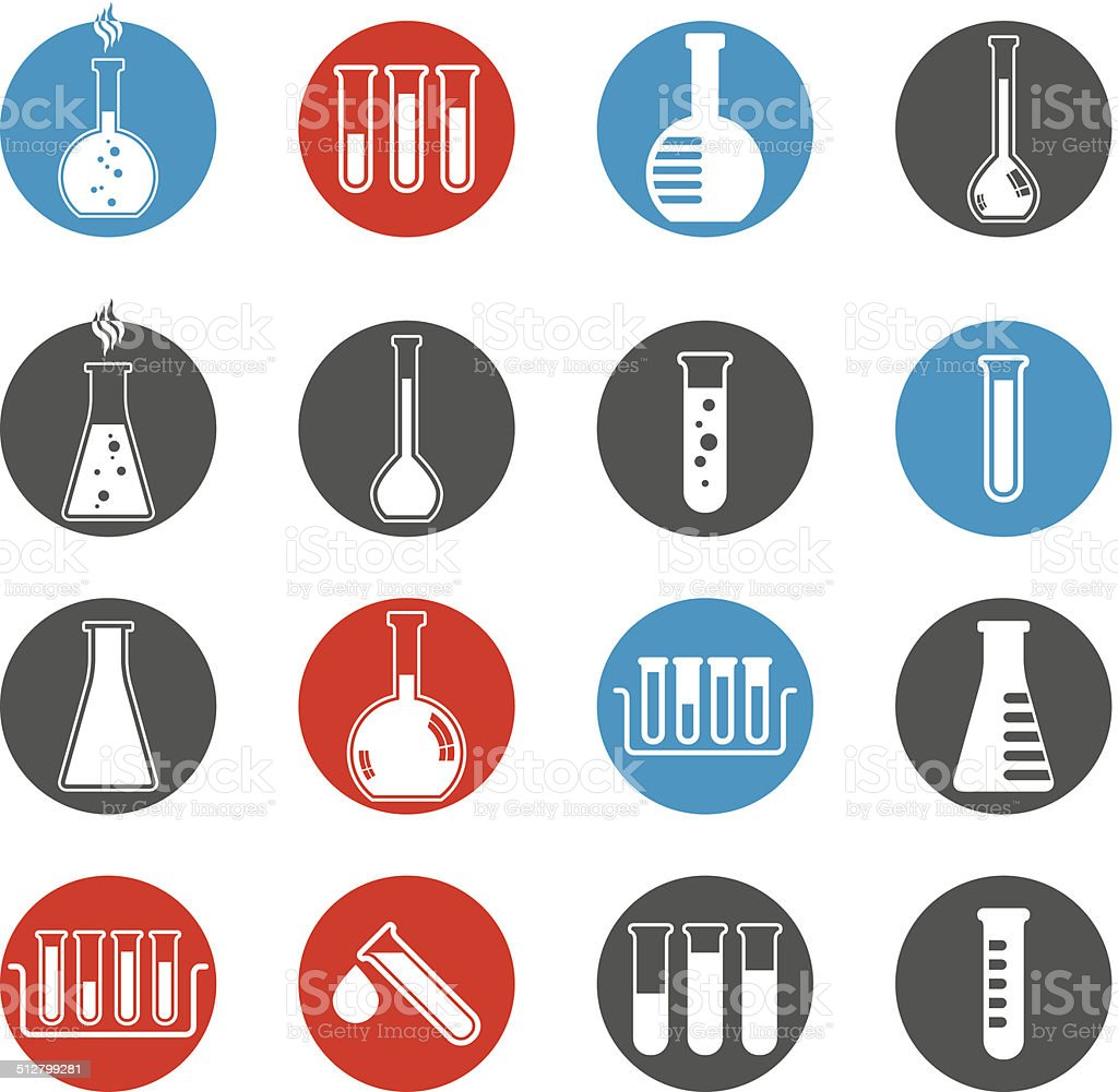 Chemical and medical flask icons vector set. vector art illustration