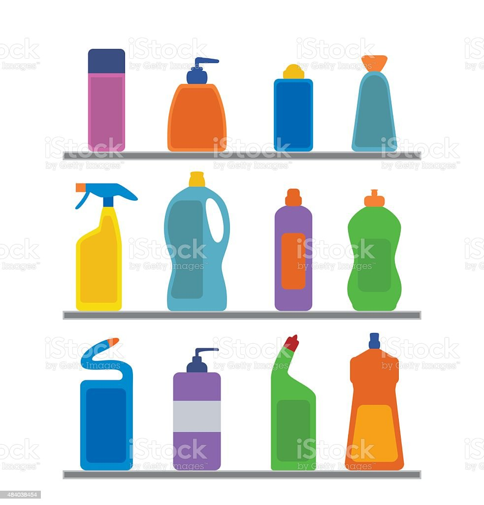 Chemical cleaning supplies. vector art illustration