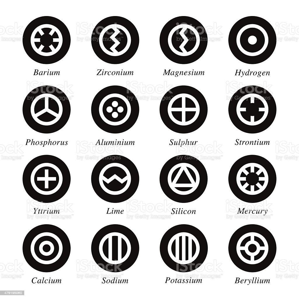 Chemical Element Icons Set 1 - Black Circle Series vector art illustration