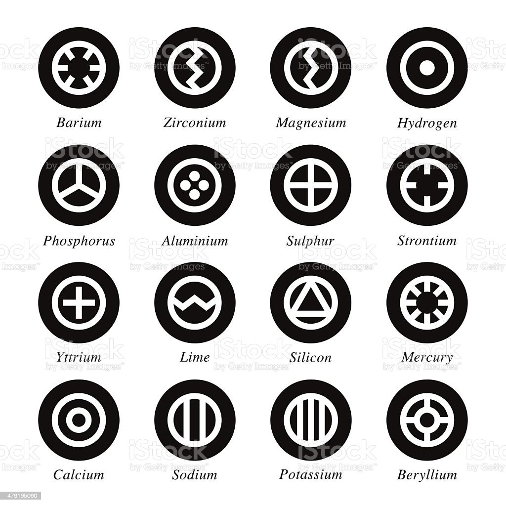 Chemical Element Icons Set 1 - Black Circle Series vector art illustration