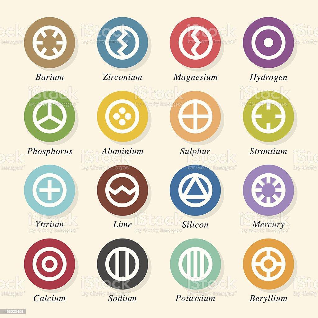 Chemical Element Icons Set 1 - Color Circle Series vector art illustration