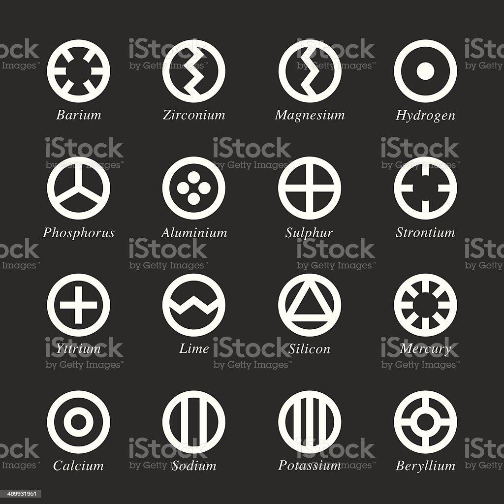 Chemical Element Icons Set 1 - White Series vector art illustration