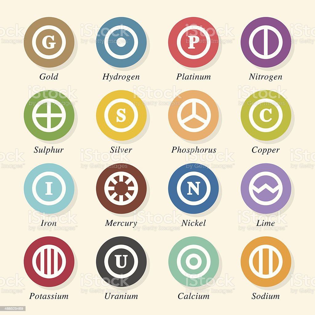 Chemical Element Icons Set 2 - Color Circle Series vector art illustration