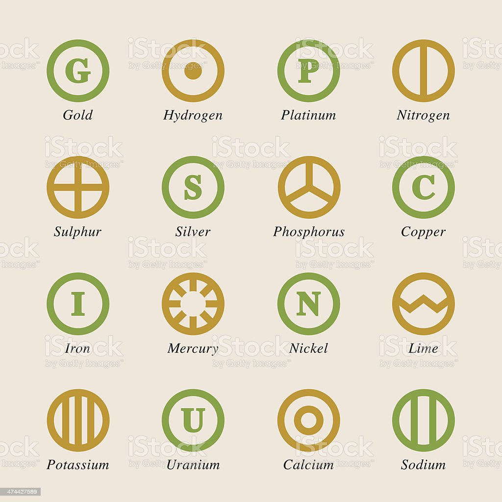 Chemical Element Icons Set 2 - Color Series royalty-free stock vector art