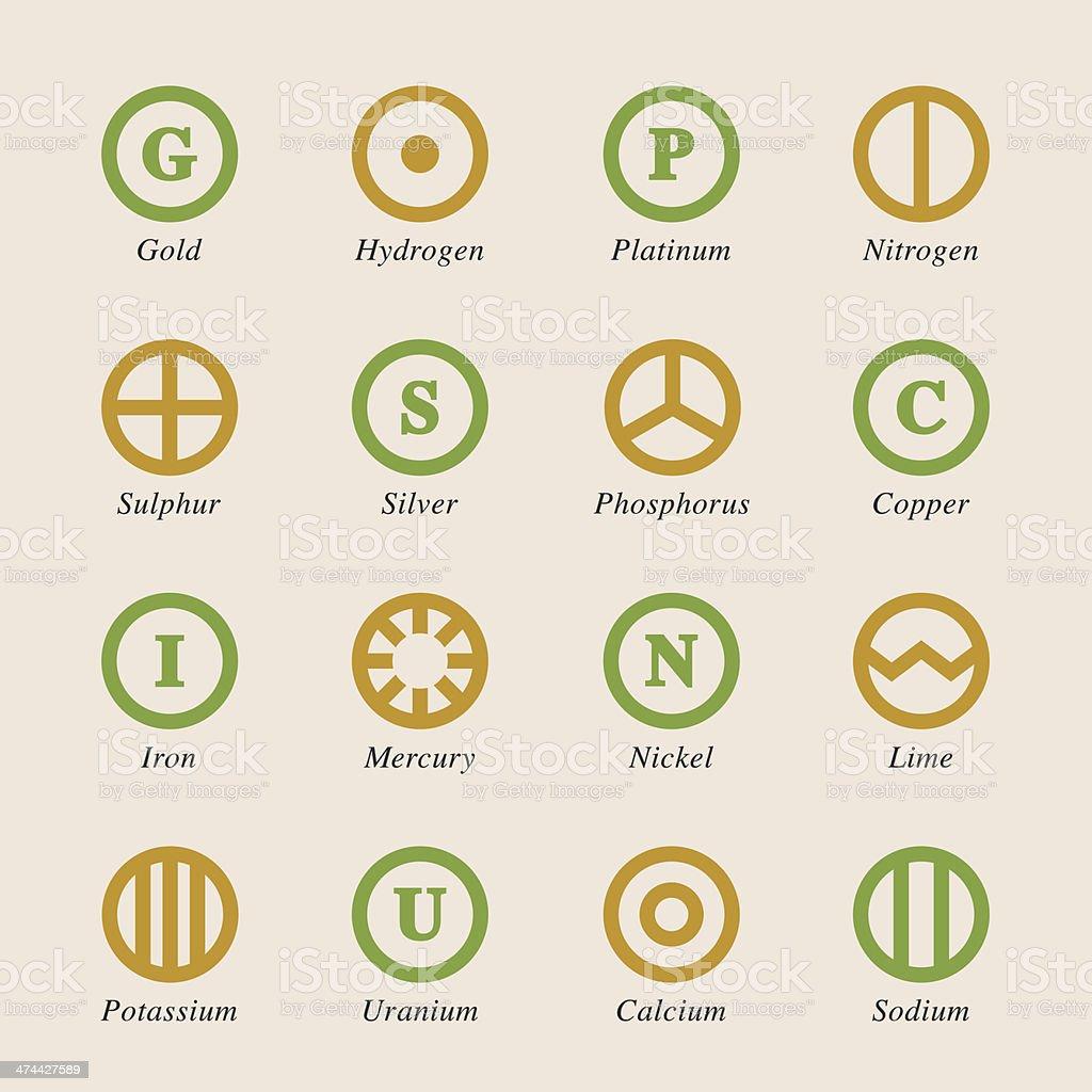 Chemical Element Icons Set 2 - Color Series vector art illustration