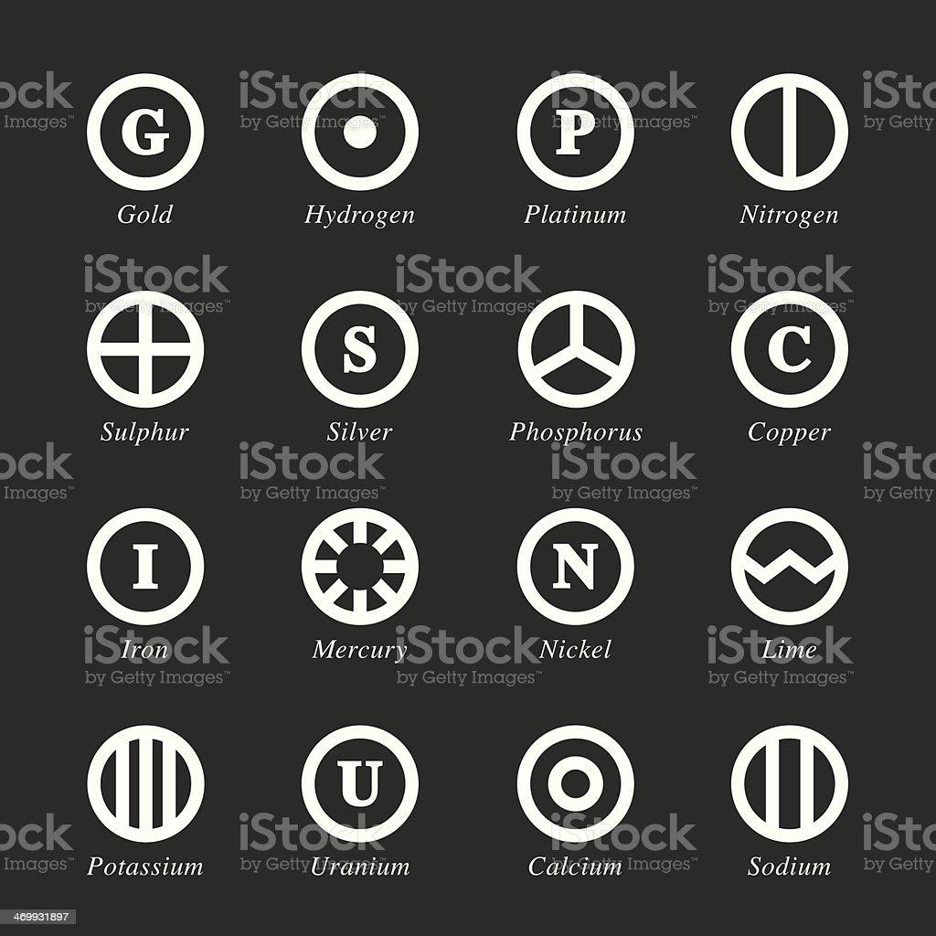 Chemical Element Icons Set 2 - White Series vector art illustration