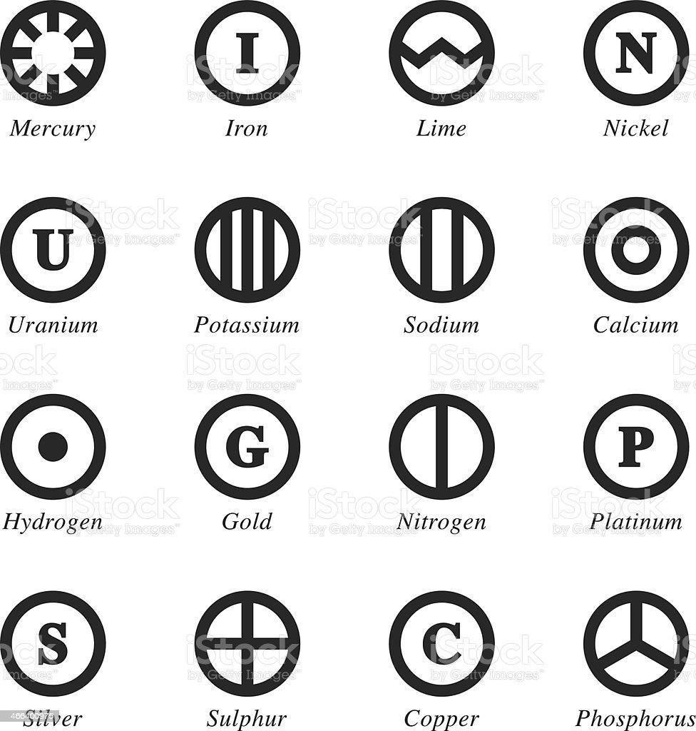 Chemical Element Silhouette Icons | Set 4 vector art illustration