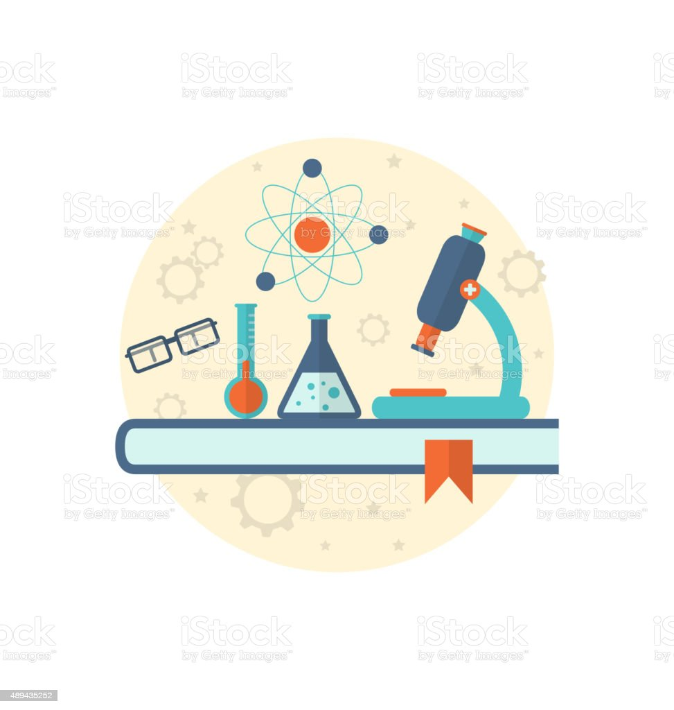 Chemical engineering background with flat icon of objects vector art illustration