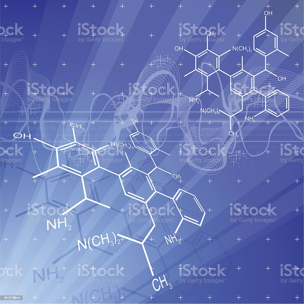 Chemical formulas depicted by white lines in blue background royalty-free stock vector art