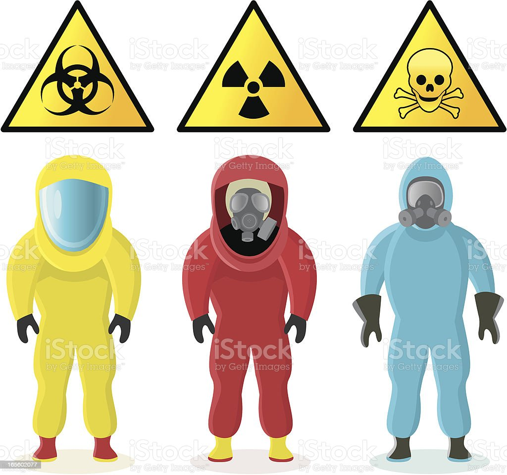 Chemical hazard suits and warning signs royalty-free stock vector art