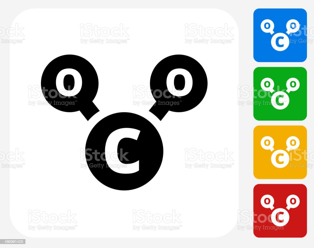 CO2 Chemical Icon Flat Graphic Design vector art illustration