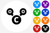 CO2 Chemical Icon on Flat Color Circle Buttons