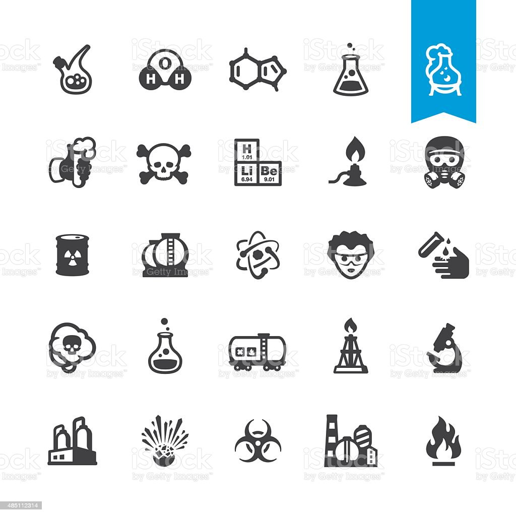Chemical industry and Laboratory related vector icons vector art illustration