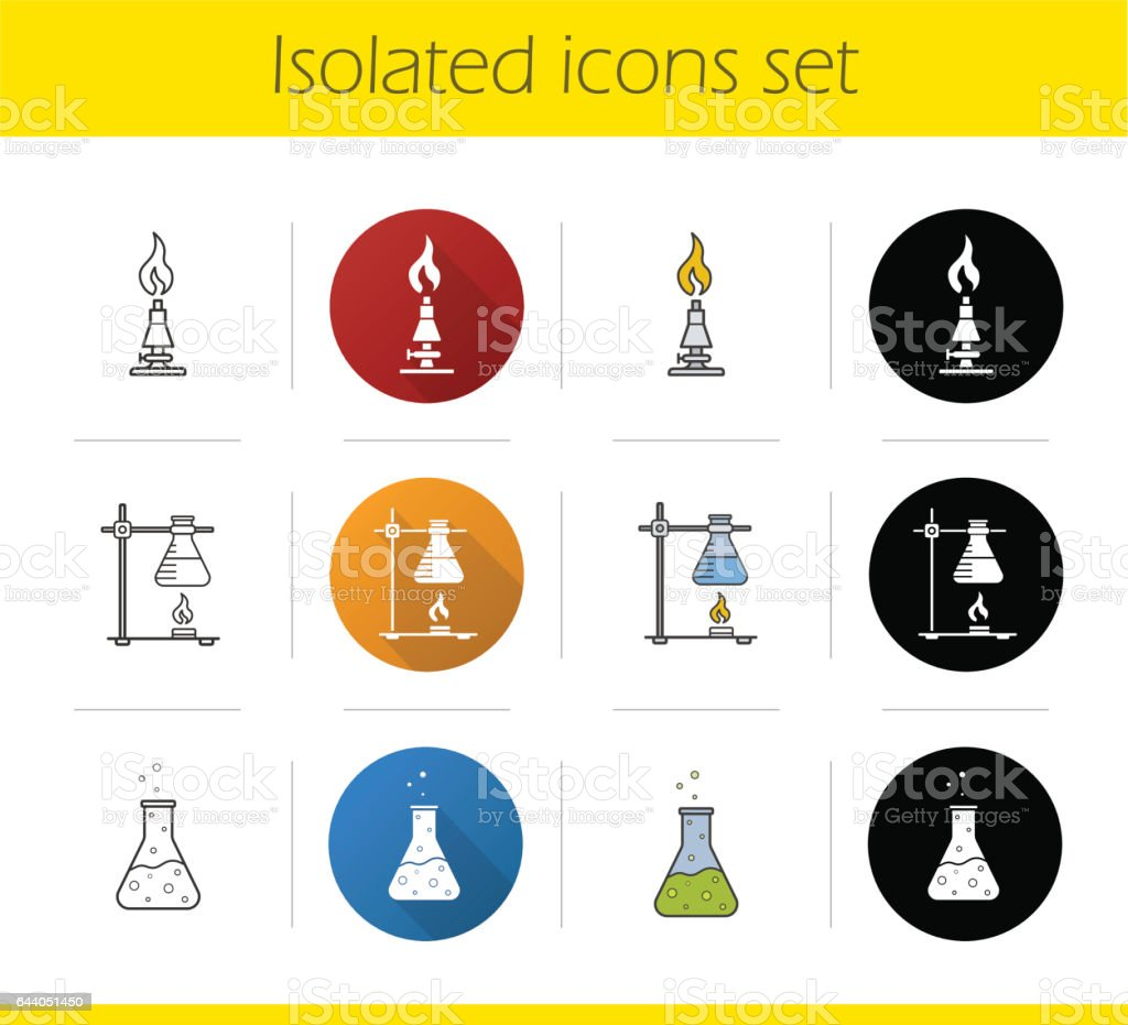 Chemical lab equipment icons vector art illustration