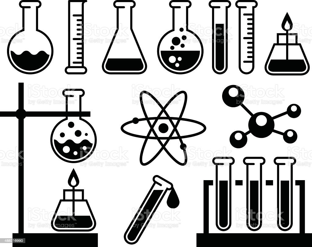 Chemical laboratory equipment - test tubes, flasks and measuring glass vector art illustration