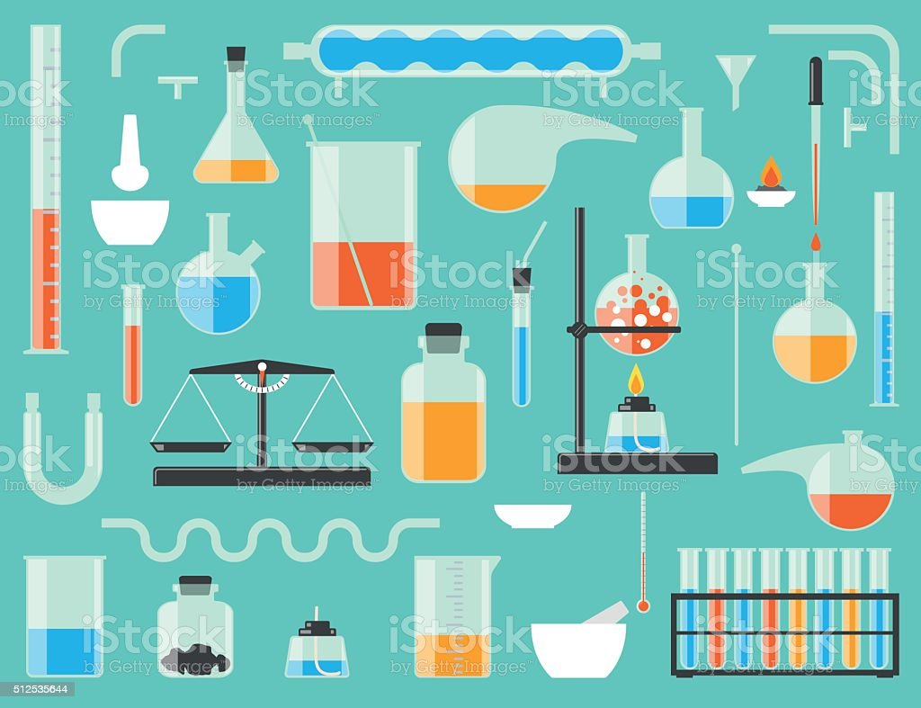 Chemical laboratory equipment vector art illustration