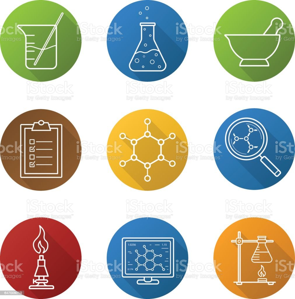 Chemical laboratory icons vector art illustration