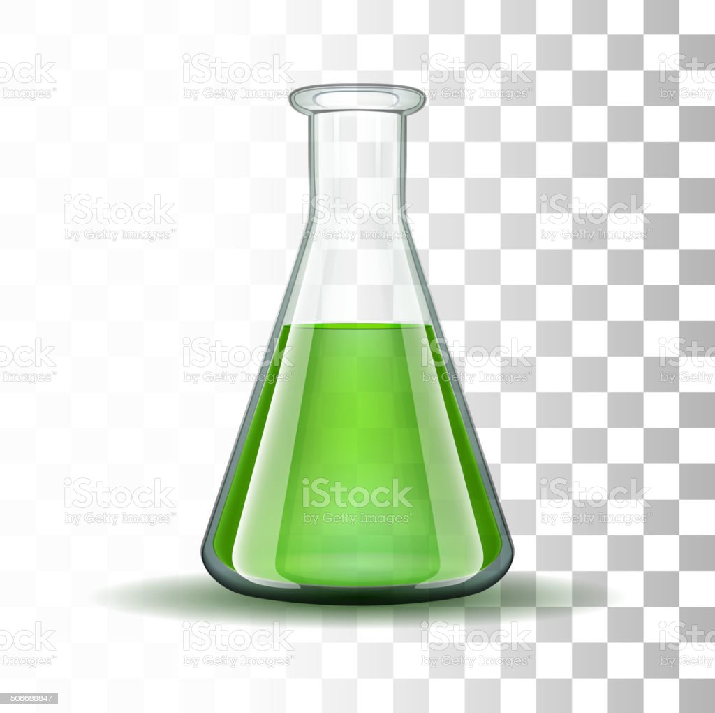 Chemical laboratory transparent flask with green liquid vector art illustration